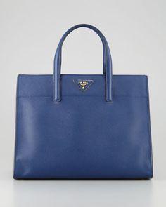 Prada - Saffiano Soft Triple-Pocket Tote Bag, Blue