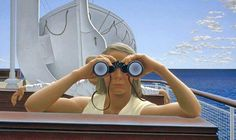 Alex Colville, To Prince Edward Island, 1965 Acrylic emulsion on Masonite, x cm National Gallery of Canada, Ottawa. Alex Colville, Canadian Painters, Canadian Artists, Wes Anderson, Andrew Hunter, Toronto, Order Of Canada, Fabian Perez, Art Gallery Of Ontario