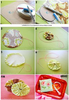 Easy Sewing Projects Quilting Projects Sewing Crafts Yo Yo Quilt Tassel Keychain Fabric Scraps Fabric Dolls Hobbies And Crafts Crafts To Do Fabric Flower Headbands, Fabric Flower Brooch, Fabric Flower Tutorial, Fabric Flowers, Crafts To Do, Hobbies And Crafts, Yo Yo Quilt, Bedroom Crafts, Frame Purse