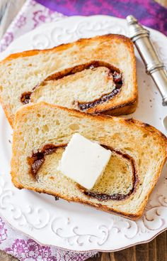 Homemade Cinnamon Swirl Bread. Ingredients:  1/2 cup (120ml) water 1/2 cup (120ml) whole milk1 1/2 cup (100g) granulated sugar, divided 2 and 1/4 teaspoons (1 standard package) Red Star Platinum yeast2 5 Tablespoons (72g) butter, softened to room temperature 3 cups (390g) bread flour (plus more for your hands and work surface)3 1 teaspoon salt 2 teaspoons ground cinnamon 1/2 cup (75g) raisins (optional)