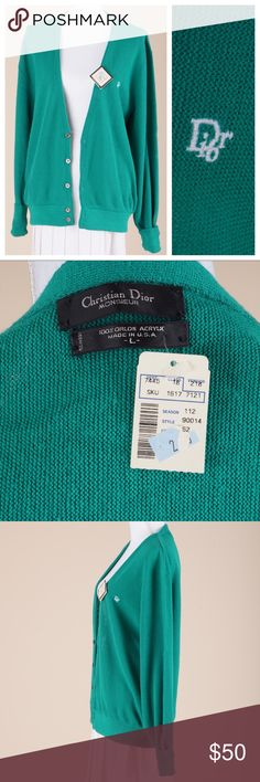 """christian dior monsieur Vintage 1970s authentic Christian Dior Monsieur classic men's green cardigan. 100% Orlon Acrylic. Size marked men's large but looks great oversized. Christian Dior tag & department store tag attached. Originally purchased from Broadway. Made in USA  •Excellent Condition   MEASUREMENTS  •size men's large  •bust 44"""" •length 26.5"""" •sleeve 24"""" cuffed •shoulder seam 2 seam 21""""  🌈All items ship within 1-2 business days. No trades or holds. All photos are original and of…"""