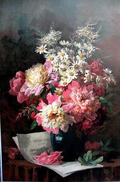 Peonies, Daisies And Pink Cabbage Roses - Paul de Longpre