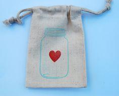 Mason jar muslin bags - littlechicklets.etsy.com