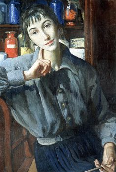 Zinaida Serebriakova, Self Portrait with Brush, 1924. (The Russian painter Zinaida Serebriakova hailed from the famous Benois-Lanceray family. A member of the Mir iskusstva (World of Art) movement, she was one of the first Russian women to earn herself a place in art history.)