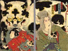 Diptych The Cat Witch, Okabe by Toyohara  Kunichika (1835-1900)