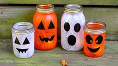 Halloween pumpkin and ghost mason jars