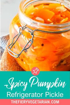 This spicy pumpkin refrigerator pickle comes together in just under 30 minutes to delight your tastebuds with its tangy spicy quick pickled pumpkin goodness! One of the easiest pumpkin recipes you'll ever make this fall, gluten-free savory spicy goodness you won't believe is made with fresh pumpkin, is low-calorie and contains NO oil. Have it today and customize to your tastes, with ginger as a great side to coconut rice and Asian dishes, or without to pair with creamy cheeses.