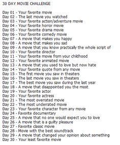 30 Day Movie Challenge