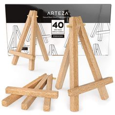 ARTEZA Mini Wood Display Easel, Pack of Ideal for Displaying Small Canvases, Business Cards, Photos Display Easel, Table Top Display, Wood Display, Diy Easel, Wooden Easel, Brochure Display, Natural Wood Finish, Business Card Holders, Business Cards