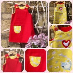 """Martha"" reversible dress Crafty Mr Fox and soft needle cord"