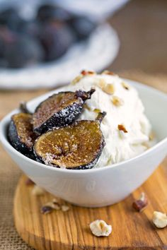 Spiced Roasted Figs with Hazelnuts and Vanilla Ice Cream   @Breyers #Breyers150 #ad
