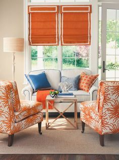 Like Orange chairs Orange Zest Room - LandingPage - Calico Corners Style At Home, Home Theaters, Home Interior, Interior Design, Interior Colors, Orange Rooms, Outdoor Blinds, Patio Blinds, Bamboo Blinds