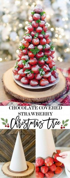Christmas desserts don't have to be complicated! Impress your guests at your next Christmas party with this easy to make Chocolate Covered Strawberry Christmas Tree. Christmas Desserts: Chocolate Covered Strawberry Christmas Tree Today I'm sharing my Christmas Snacks, Xmas Food, Christmas Appetizers, Christmas Cooking, Christmas Goodies, Holiday Desserts, Holiday Baking, Holiday Treats, Holiday Recipes