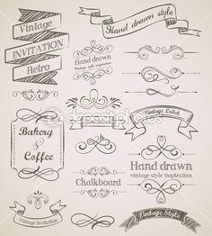 Hand drawn vintage elements                                                                                                                                                                                 Más