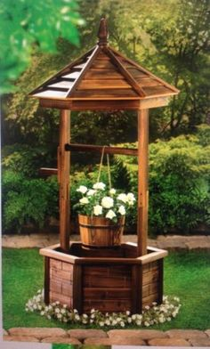 NEW-RUSTIC-NATURAL-WOOD-WISHING-WELL-PLANTER
