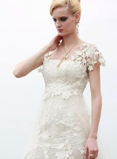 Ivory White Evening Dress With Embroidered Embellishments,  Dress, Bridal  Lace  Sheer  Sleeves, Chic -- If I'm able to convert the neckline into a sweetheart, then this dress would be absolutely perfect! (in addition to affordable)