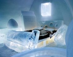 Sweden's Ice Hotel, situated in Jukkasjarvi, is built from scratch every year. A new design, new suites, a brand new reception - in fact everything in it is crisp and new Ice Hotel, Ice Bars, Ice Castles, Ice Sculptures, Travel News, Travel Hacks, Travel Checklist, Snow And Ice, Vacation Destinations