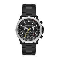 Shop Michael Kors Theroux Black Plated Chronograph Watch and save up to EXPRESS international shipping! Black Stainless Steel, Stainless Steel Watch, Stainless Steel Bracelet, Daniel Wellington, Michael Kors Chronograph, Mens Watches Uk, Men's Watches, Michael Kors Men, Casio Watch