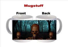 Skeleton in the dark forest Halloween Picture Mug by Mugstuff