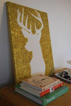 Glitter Deer Silhouette Canvas. :)