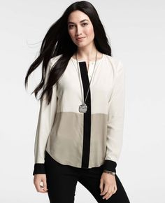 Petite Colorblocked Long Sleeve Blouse - Ann Taylor#Repin By:Pinterest++ for iPad#