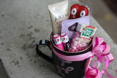 """Chemo care mugs are DIY """"gift baskets"""" filled with comforting goodies that she'll be so glad to have when the chemo side effects — cracked skin, dry mouth and upset stomach — set in. Fill them with whatever suits her best."""