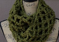 Crochet Chunky Green ScarfChunky Scarf by DishclothDivaKnitsOn, $24.00