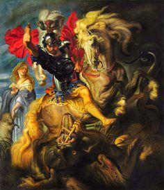 St George Fighting the Dragon (1606-1610). Rubens (Flemish 1577-1640). Oil on canvas. 304 x 256 cm. Museo del Prado. Madrid.
