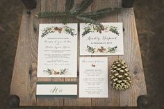 Gorgeous rustic winter wedding invitations by Paper n' Peonies