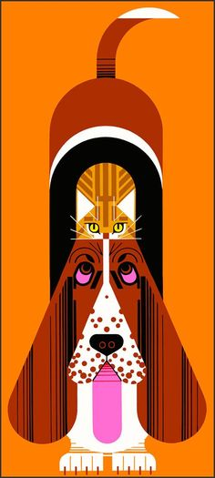 {Improbable Pair} Charley Harper - had to look twice to find the kitten! :)