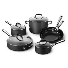 Simply Calphalon Nonstick Cookware SetThis 10-piece set includes 8-in. Omelette Pan, 10-in. Omelette Pan, 1-qt. Sauce Pan with cover, 2-qt. Sauce Pan with cover, 3-qt. Saute pan with cover, and 6-qt. Stockpot with cover.