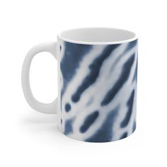 11oz  Height, in 3.75  Diameter, in 3.15  Mug- Perfect for coffee, tea and hot chocolate, durable ceramic mug in the most popular size. High quality batikk (tie die) print makes it an appreciated gift to every true hot beverage lover.  .: White ceramic .: 11 oz (0.33 l) .: Rounded corners .: C-Handle Printed in United States by MWW On Demand Blue Blanket, Round Corner, All Brands, Hot Chocolate, White Ceramics, Beverage, United States, Printing, Handle