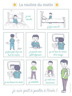 Une petite BD de la routine du matin à imprimer : unjourunjeu.fr