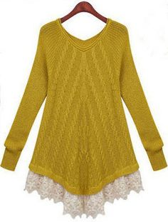 Yellow Long Sleeve Contrast Lace Sweater US$33.77