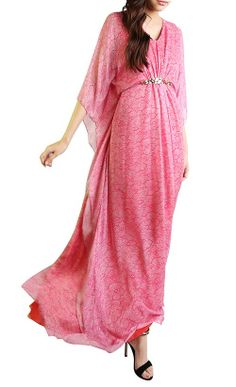 Lace Print Kaftan Dress in Fuchsia and White - Kaftans - Women | FashionValet