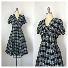 50s Blue & Black Plaid Dress / 1950s by CheshireVintageShop
