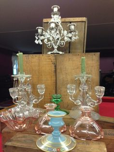 depression glass candle holders | ... Candelabra and Depression Glass Candle Holder Rental Collection