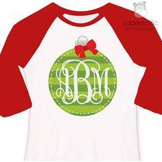 Holiday shirt monogram green Christmas ornament personalized raglan Tshirt - adorable custom monogrammed ornament raglan shirt