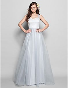 Floor-length Lace / Tulle Bridesmaid Dress - Silver Plus Sizes / Petite A-line Straps