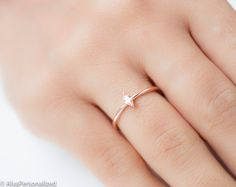 Simple Gold Ring Thin Rose Gold Ring Citrine by AlyaPersonalized