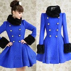 Fashion O Neck Long Sleeve Double Breasted Blue Long Coat. Oh My!!!