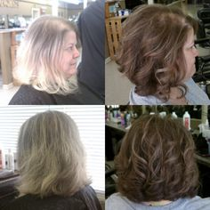 Before and after; Natural highlights, Barely bob.