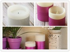 Easy DIY Glitter Dipped Duck Tape Candle Tutorial | DIY Tag