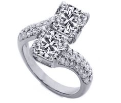 Engagement Ring - Toi et Moi Cushion Diamond Pave Engagement Ring in 14K White Gold - ES1140CUWG