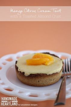 Mango Citrus Cream Tart with a Toasted Almond Crust | Tart Recipe #recipe #mango