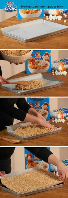 Lining your pan with some parchment paper makes it super-easy to lift out your finished Rice Krispies Treats™. Crispy Treats Recipe, Rice Crispy Treats, Krispie Treats, Rice Krispies Treats Original Recipe, Yummy Snacks, Yummy Food, Diy Snacks, Just Desserts, Dessert Recipes