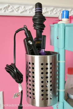 IKEA Raskog Hack, a DIY Rolling Vanity Cart with attached holder for curling or flat iron. Great for shared bathrooms