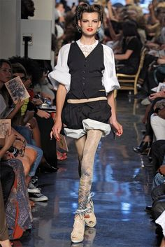 Jean Paul Gaultier Spring 2012 || Not super excited about the outfit, but the tights are awesome!