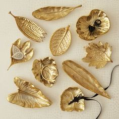 Gold Rush Set of Ten Large Brass Foliage Dishes