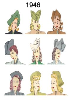 Hat and Hair Style Fashion History Images 1946-1949